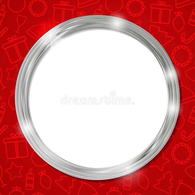 Cadre abstrait de cercle d'argent de lueur Noël Calibre pour la carte de visite professionnelle de visite, bannière, affiche, car illustration de vecteur