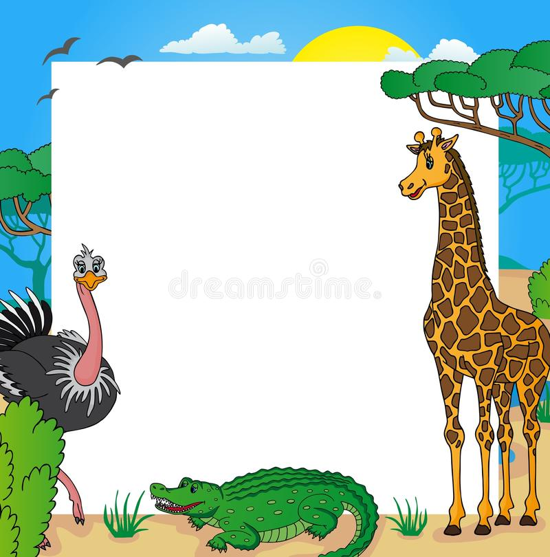 cadre africain avec les animaux 01 illustration de vecteur illustration du nuage normal 32968171. Black Bedroom Furniture Sets. Home Design Ideas
