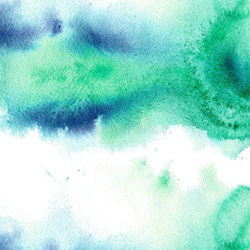 Cadre aqueux bleu et vert Illustration tirée par la main d'aquarelle abstraite illustration de vecteur