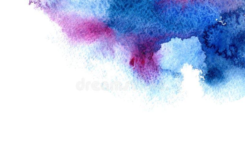 Cadre aqueux bleu et violet Image tirée par la main d'aquarelle abstraite illustration de vecteur