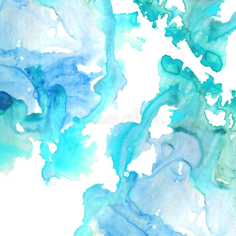 Cadre aqueux bleu Illustration tirée par la main d'aquarelle abstraite illustration stock