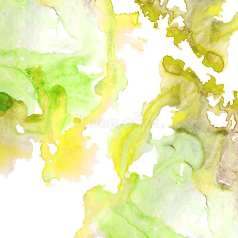 Cadre aqueux jaune et vert illustration de vecteur
