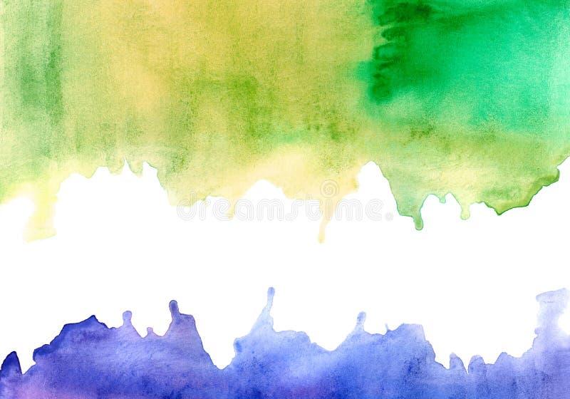 Cadre aqueux vert jaunâtre et violet illustration de vecteur