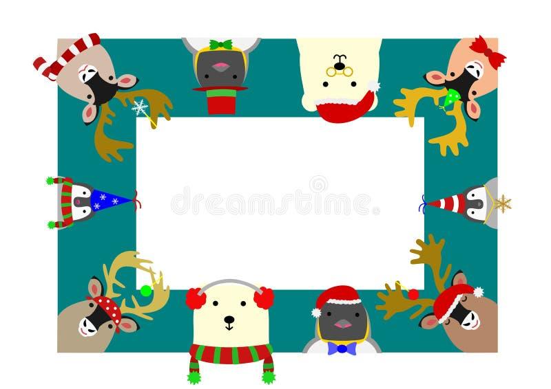 Cadre arctique mignon de rectangle d'animaux illustration libre de droits
