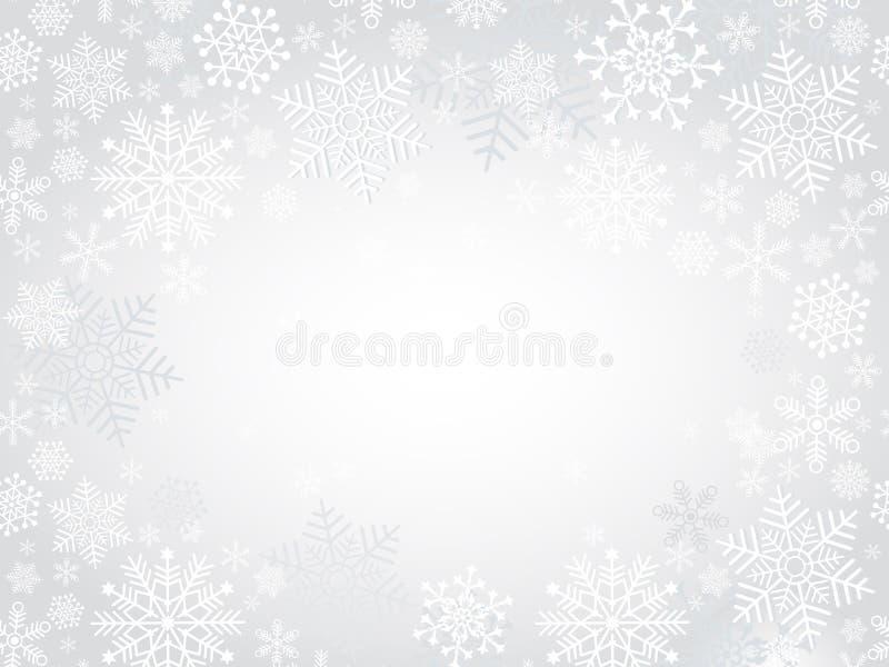 Cadre argenté de Noël d'hiver illustration de vecteur