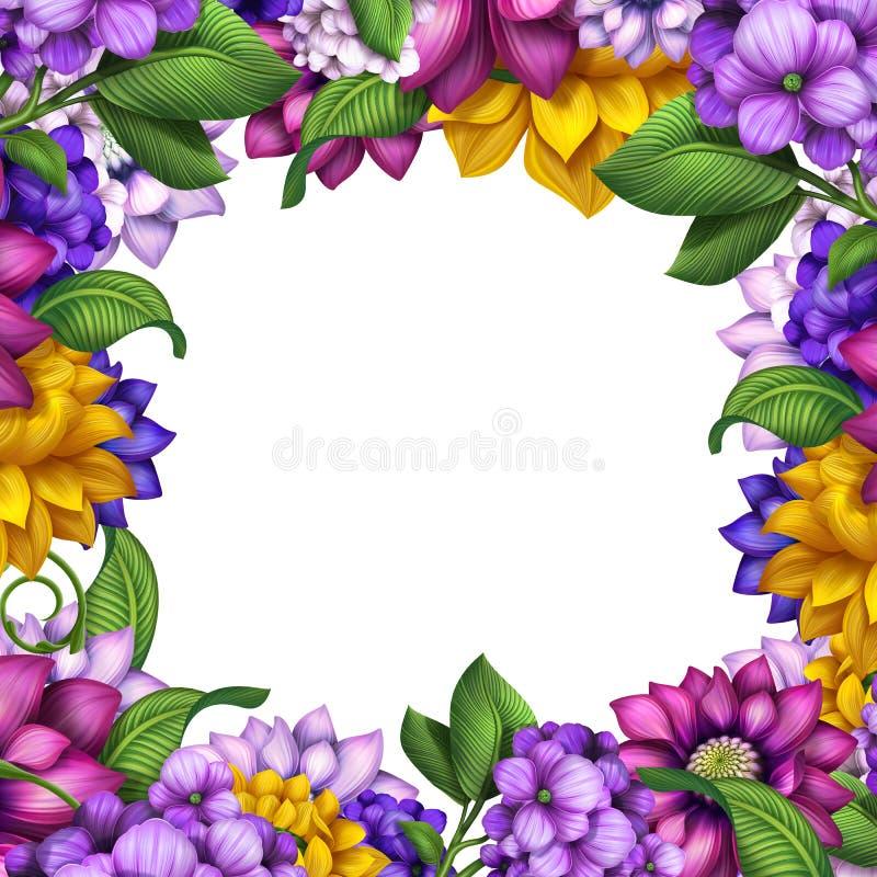 Cadre assorti de fleurs d'isolement sur le fond blanc illustration stock