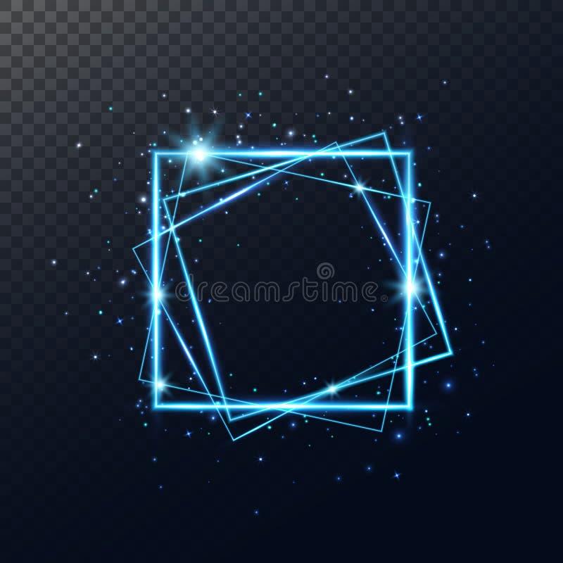Cadre au néon bleu rougeoyant Bannière carrée brillante d'isolement sur le fond transparent Frontière 3d électrique Noël léger illustration stock