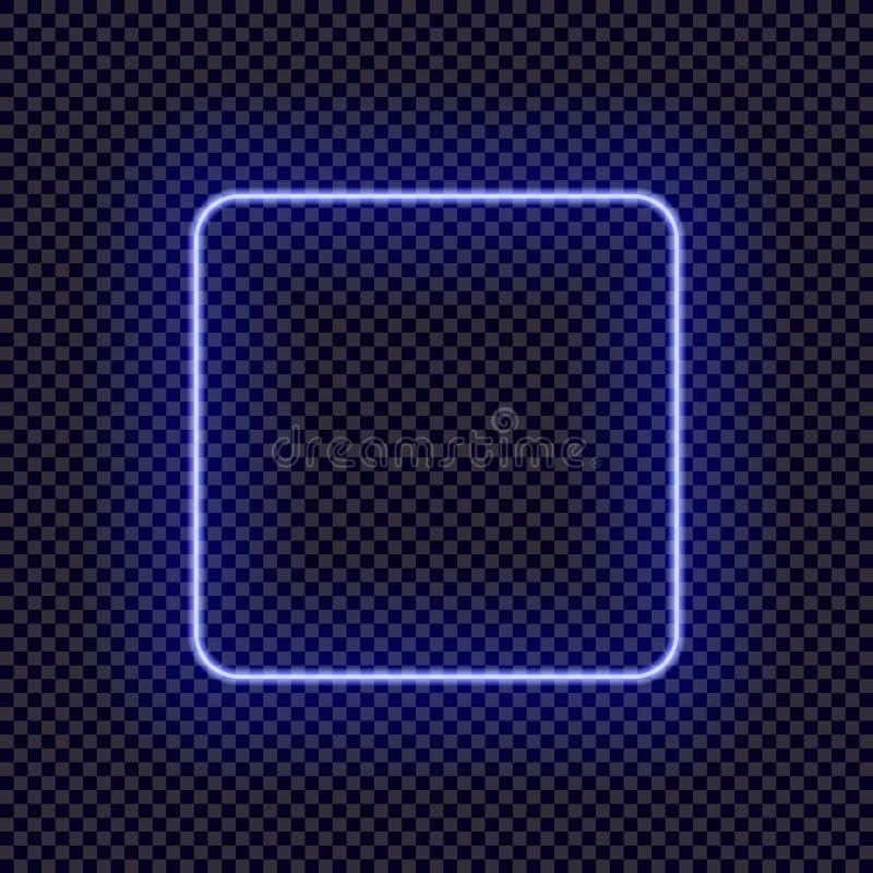 Cadre au néon de vecteur, calibre vide de frontière, cadre carré lumineux illustration libre de droits