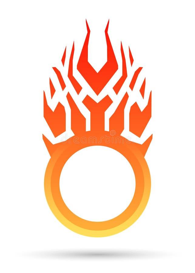 Cadre, autocollant de vente, étiquette ou label ronde brûlante Calibre de conception d'icône illustration de vecteur