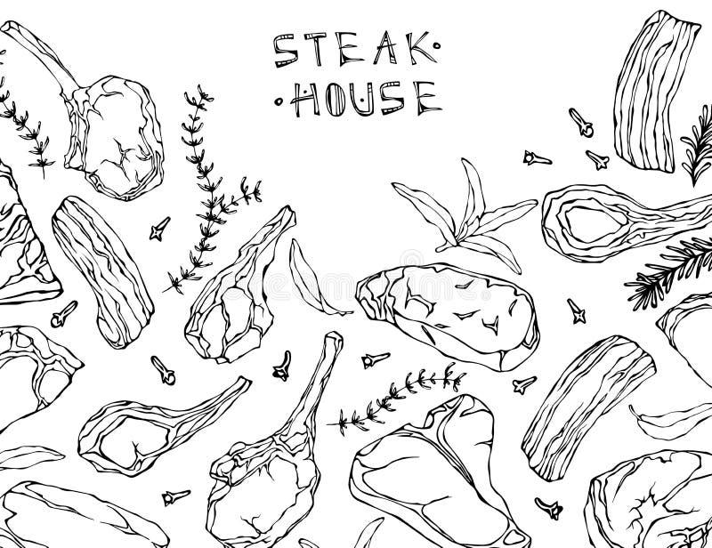 Cadre avec des produits carnés Menu ou boucher Shop Template de restaurant Bifteck de boeuf, agneau, nervure de porc Illustration illustration libre de droits