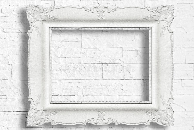 Cadre baroque blanc images stock