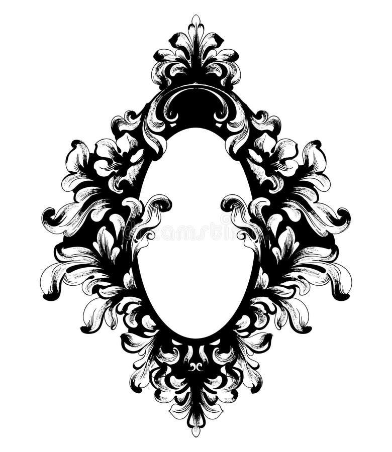 Cadre baroque de miroir de cru Vecteur Ornements complexes riches de luxe français Décors royaux victoriens de style illustration stock