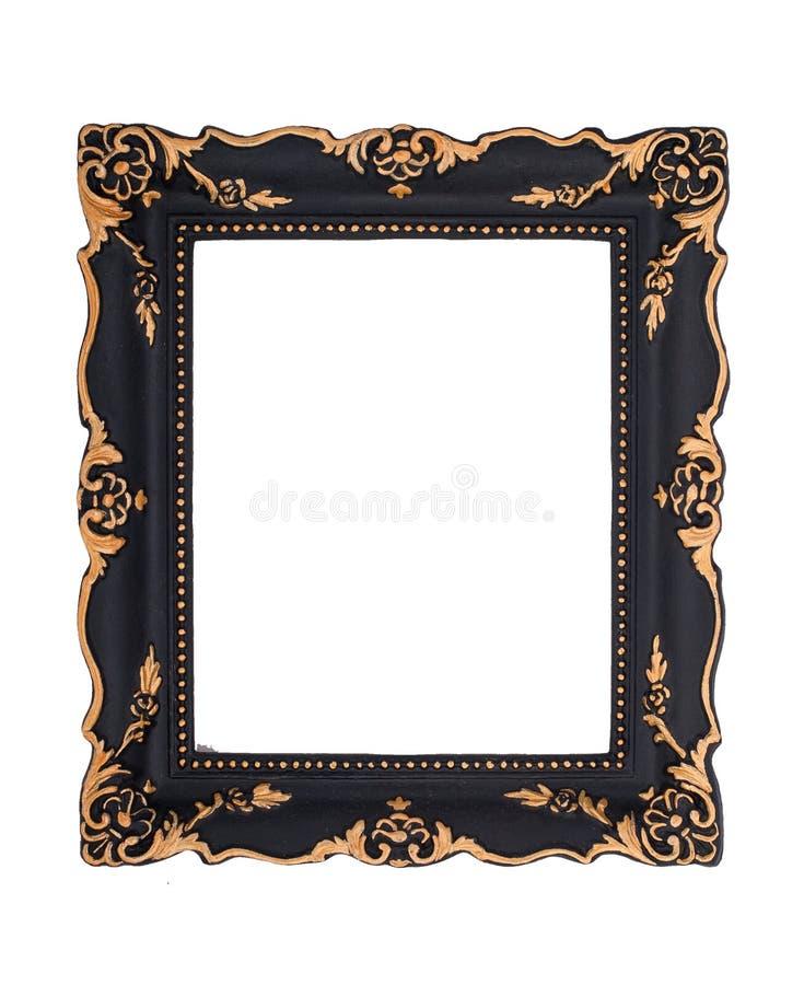 Cadre baroque noir et d'or fleuri d'isolement sur le dos de blanc images libres de droits