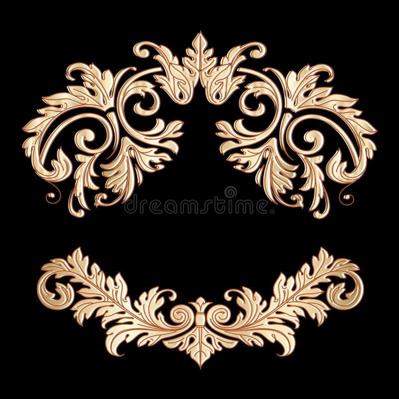 Cadre baroque richement décoré Flor de conception de rouleau de vintage d'or illustration libre de droits