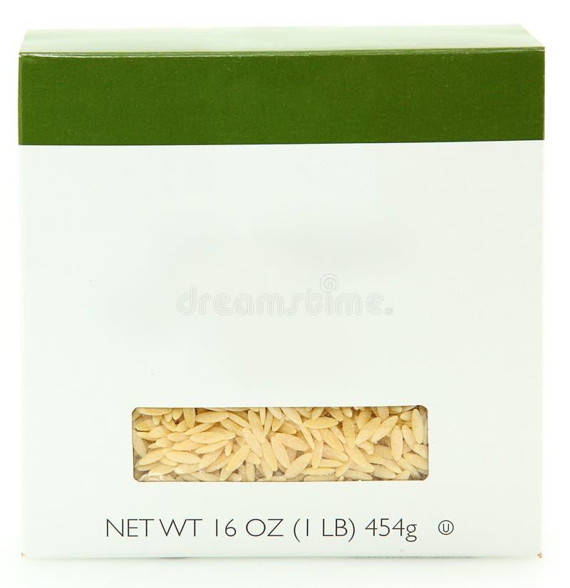 Cadre blanc de l'étiquette 16oz de nouilles d'Orzo photographie stock