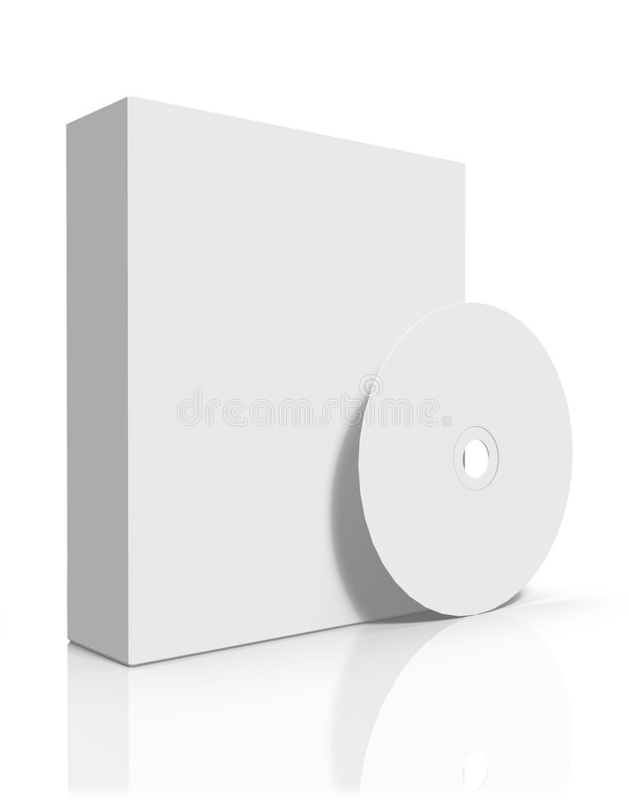 Cadre blanc de logiciel avec CD/DVD illustration libre de droits