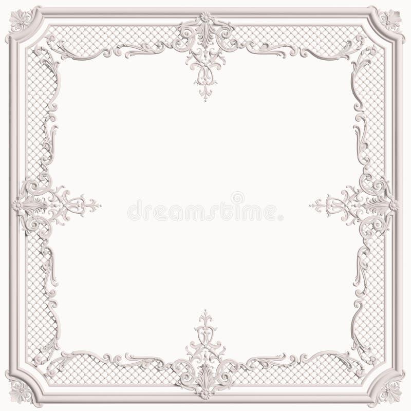 Cadre blanc de moulage de classique avec le décor d'ornement pour l'international classique illustration stock