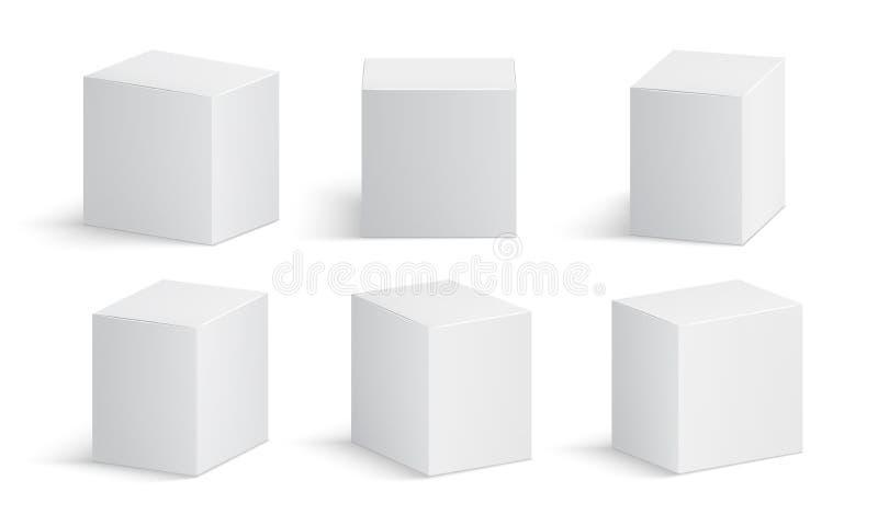 Cadre blanc Paquet vide de médecine Maquette d'isolement par vecteur médical des boîtes en carton de produit 3d illustration stock