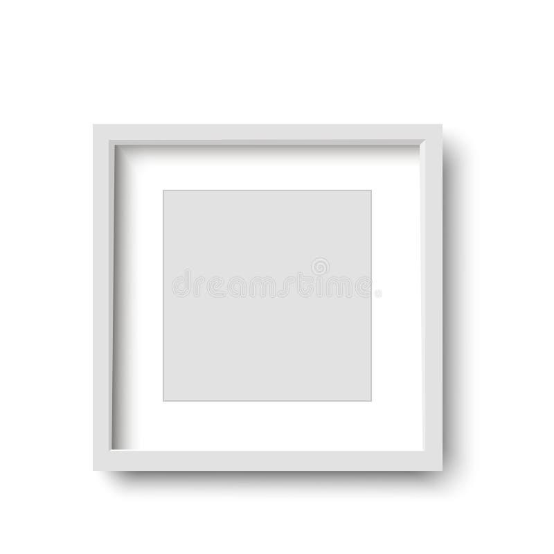 Cadre blanc réaliste d'isolement sur le fond blanc Illustration illustration stock