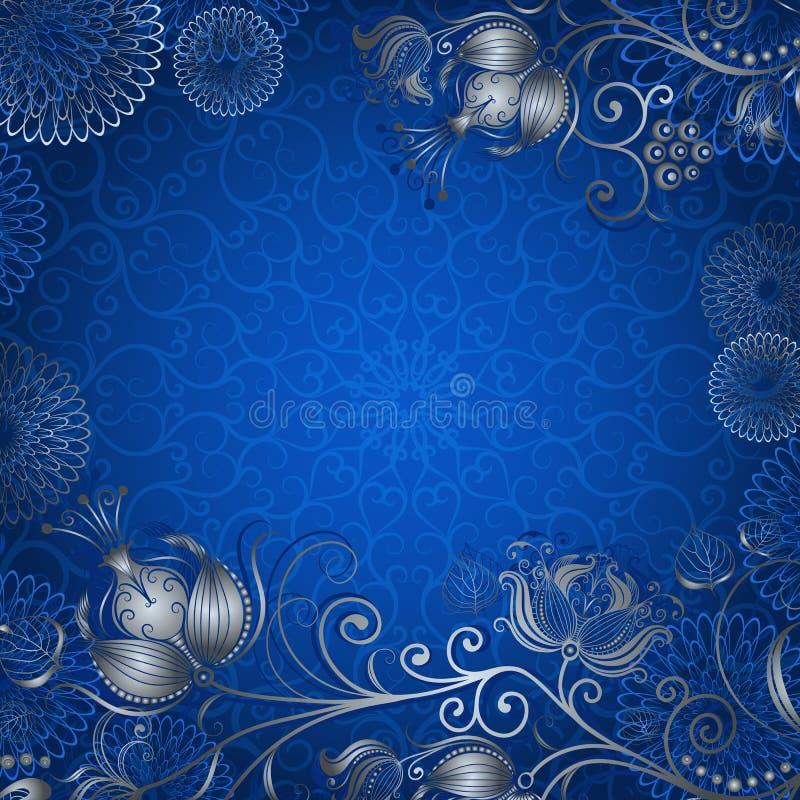 cadre Bleu-argenté de vintage illustration libre de droits