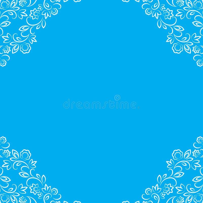 cadre bleu avec la frontière florale blanche de dentelle illustration libre de droits