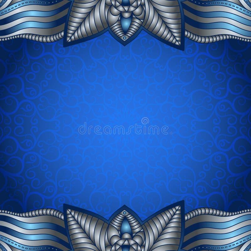 Cadre bleu avec le modèle argenté de vintage illustration libre de droits