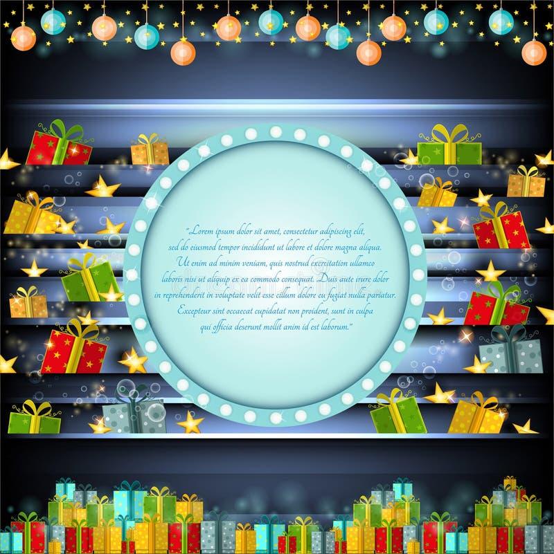 Cadre bleu de cercle sur le fond argenté de Noël avec les étoiles et les présents d'or illustration libre de droits