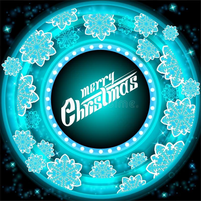 Cadre bleu de cercle sur le fond de tunnel avec les flocons de neige azurés Noël de vecteur illustration stock