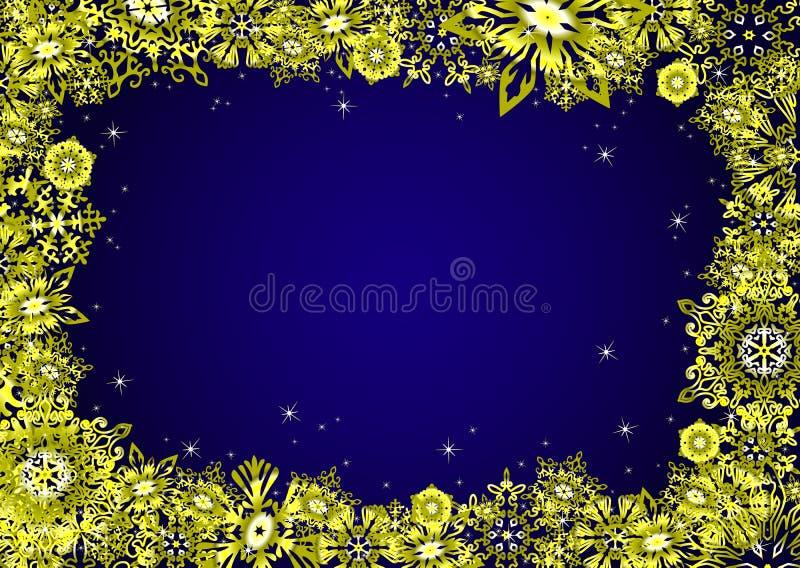 Cadre bleu de Noël avec des flocons de neige et des étoiles d'or Illustration de vecteur illustration libre de droits