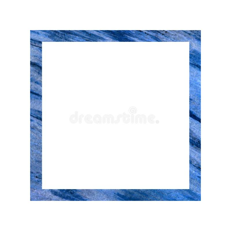 Cadre bleu de place sur un fond blanc Enregistrement d'épouser des albums pour des photos, enregistrement, vacances illustration libre de droits