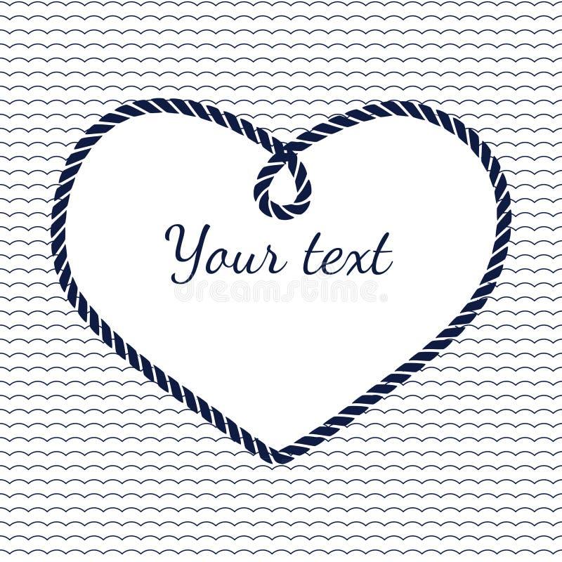 Cadre bleu et blanc de coeur de corde de marine avec la vague illustration stock