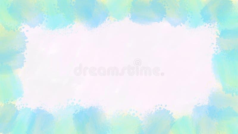 Cadre bleu et vert de texture d'aquarelle à l'arrière-plan blanc illustration de vecteur