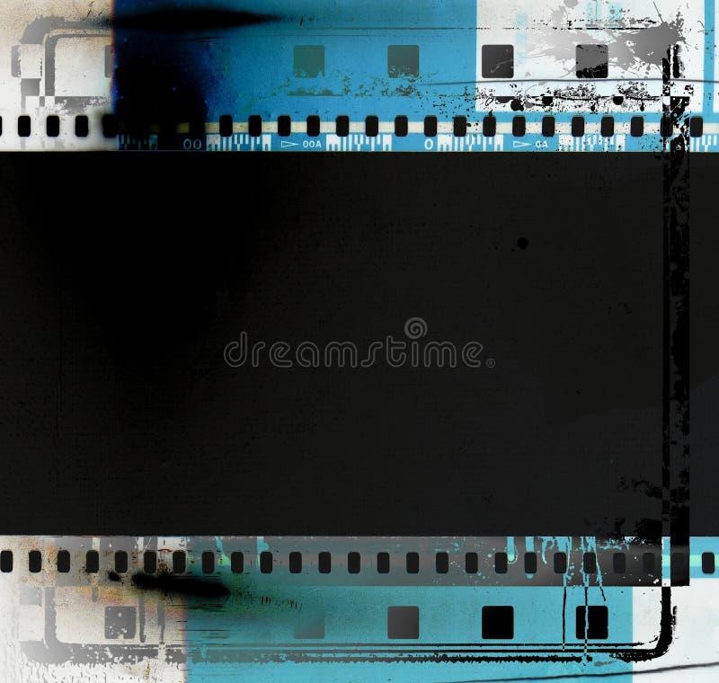 cadre bleu grunge de bande de film Élément de conception de vintage illustration libre de droits