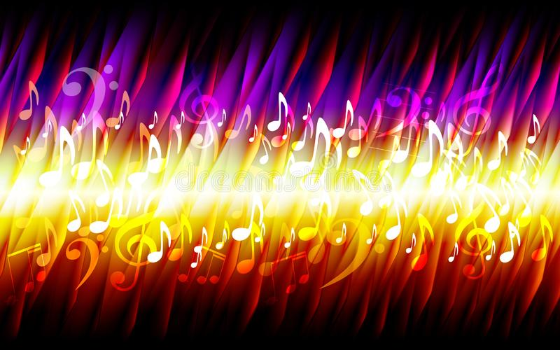 Cadre brûlant de fond de texture du feu grunge de musique de feuille de résumé illustration stock