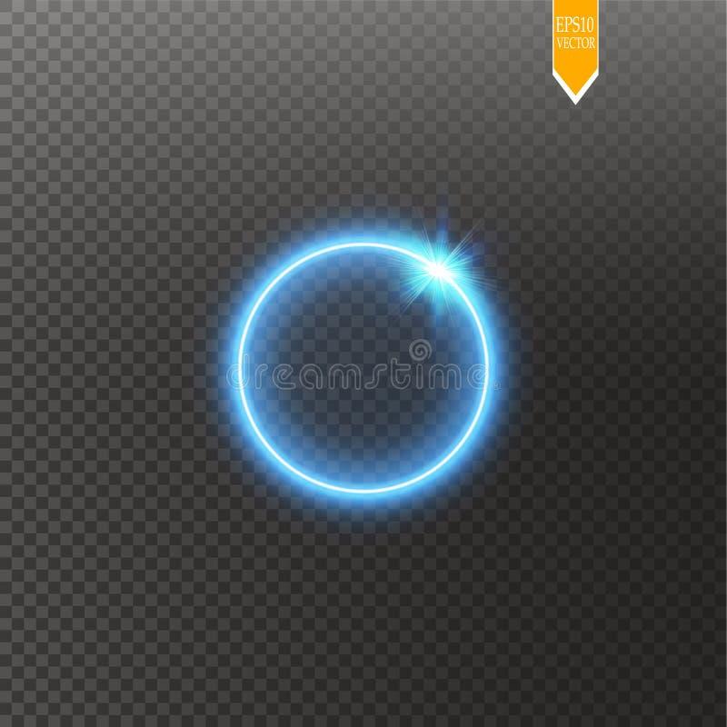 Cadre brillant rond bleu de cercle d'isolement sur le fond transparent Bel anneau léger de luxe abstrait Vecteur illustration stock