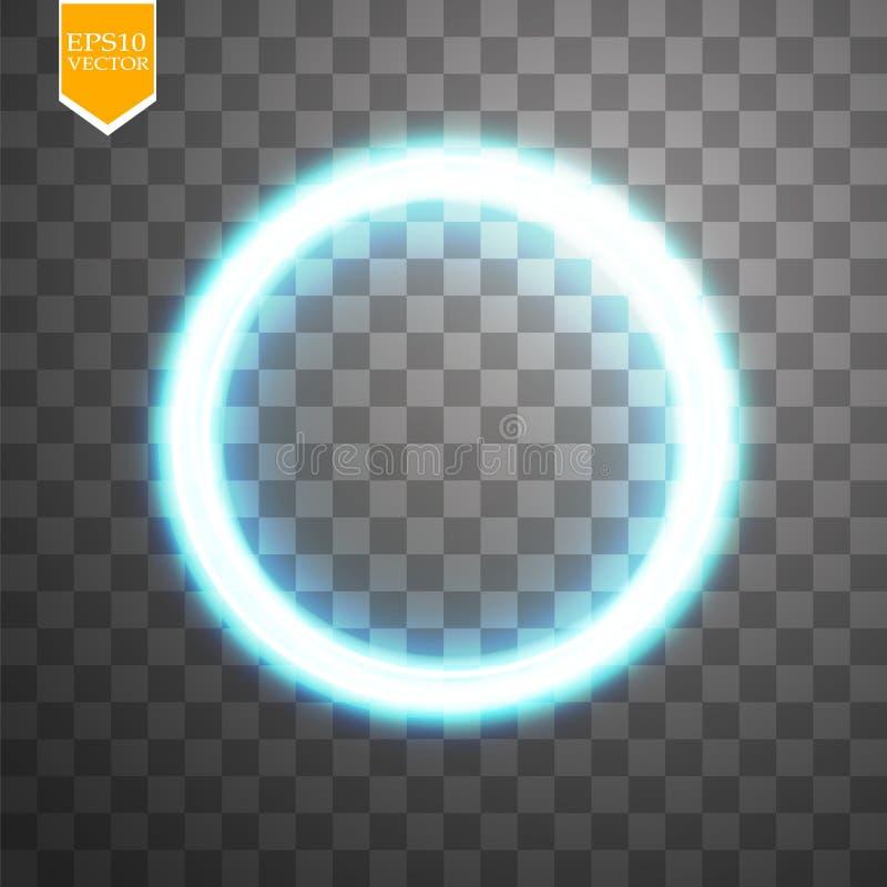 Cadre brillant rond bleu de cercle sur le fond transparent Bel anneau léger de luxe abstrait Vecteur illustration libre de droits