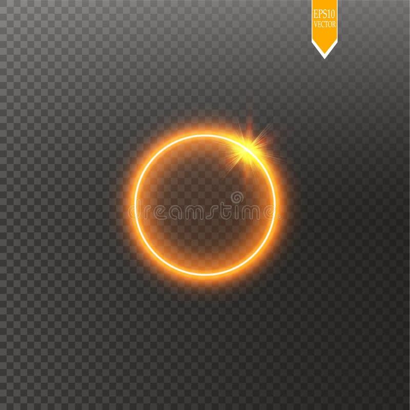 Cadre brillant rond d'or de cercle d'isolement sur le fond transparent Bel anneau léger de luxe abstrait Vecteur illustration de vecteur