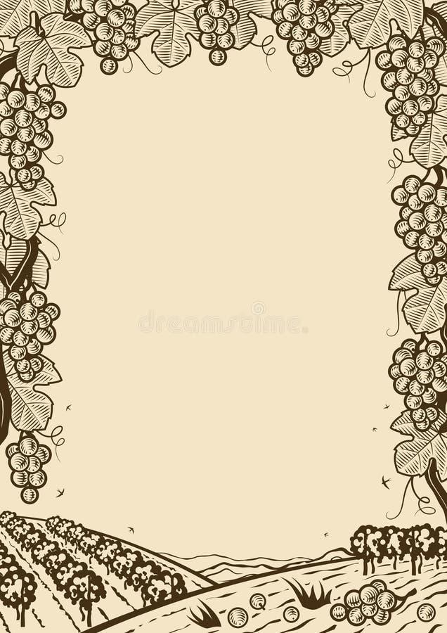 Cadre brun vertical de rétros raisins illustration de vecteur