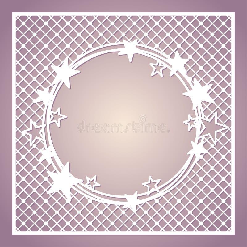 Cadre carré à jour avec la guirlande des étoiles illustration libre de droits