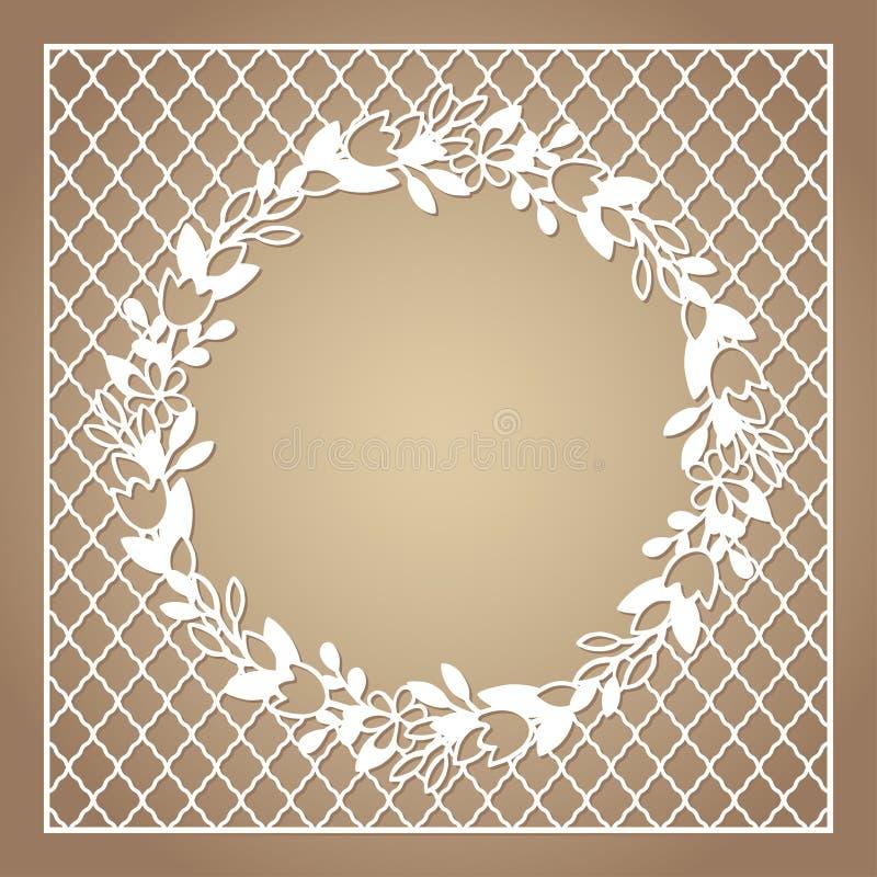 Cadre carré à jour avec la guirlande des fleurs Calibre de coupe de laser illustration de vecteur