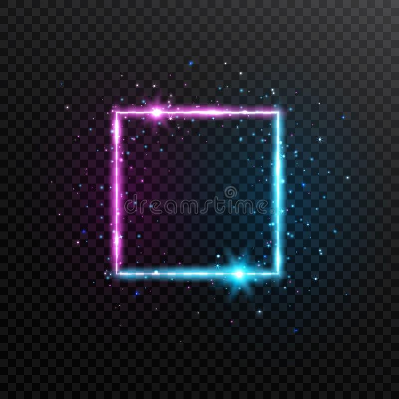 Cadre carré au néon Bannière rougeoyante bleue et violette lumineuse avec des étincelles, des fusées et des étoiles Frontière 3d  illustration libre de droits