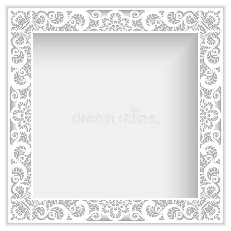 Cadre carré avec la frontière de dentelle de papier de coupe-circuit illustration de vecteur