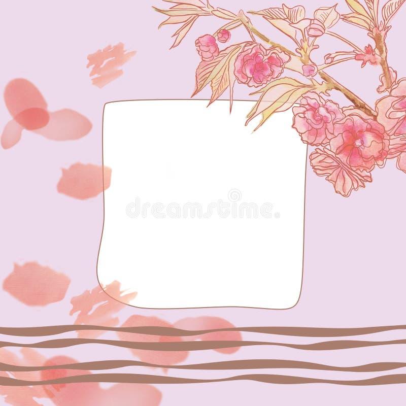 Cadre carré avec le modèle floral de beau cru sensible image stock