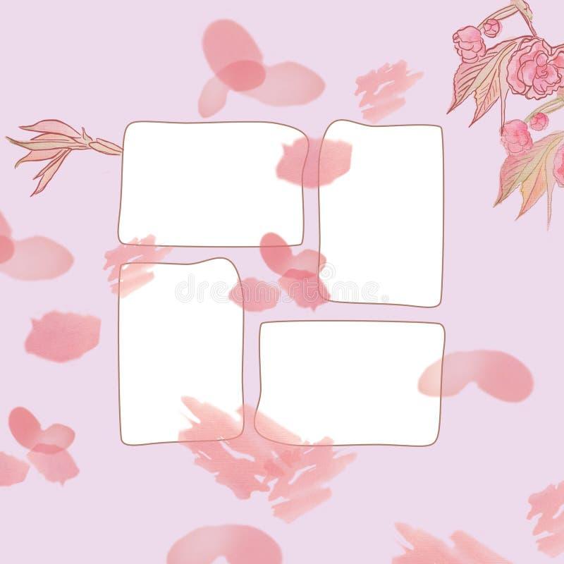 Cadre carré avec le modèle floral de beau cru sensible images stock