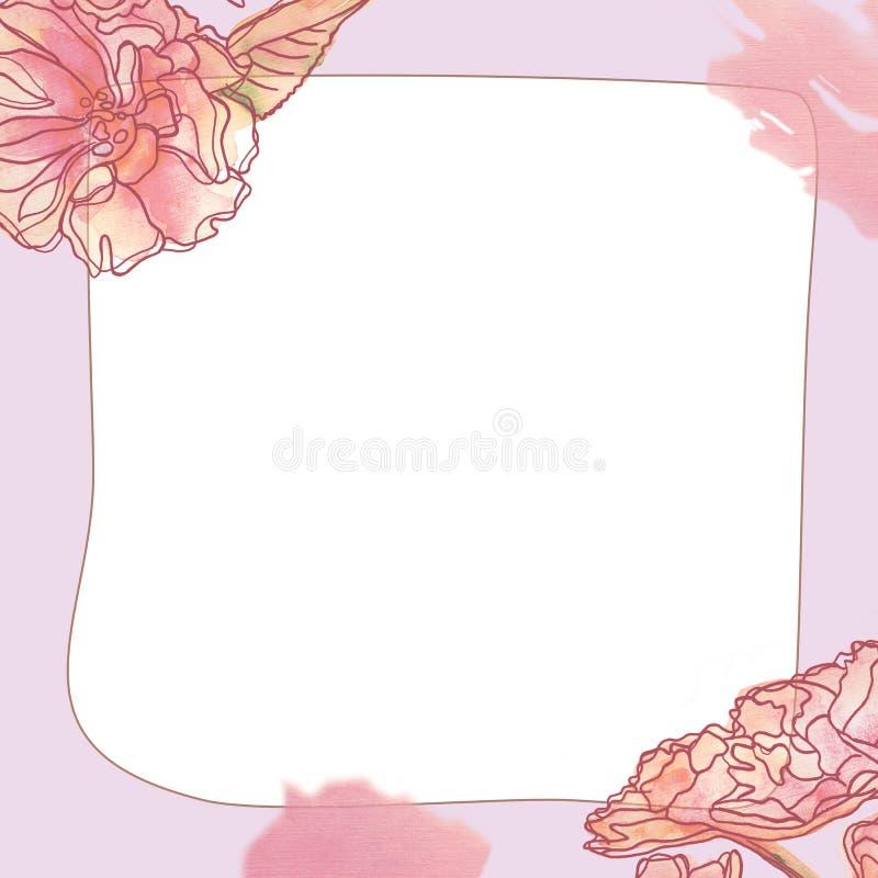 Cadre carré avec le modèle floral de beau cru sensible illustration de vecteur