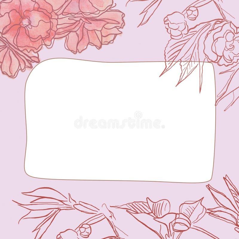 Cadre carré avec le modèle floral de beau cru sensible photos libres de droits