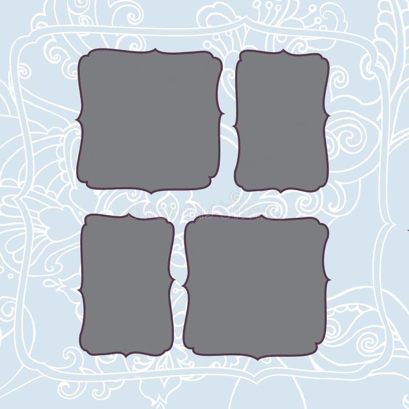 Cadre carré avec le modèle givré bleu de Noël d'hiver photographie stock libre de droits