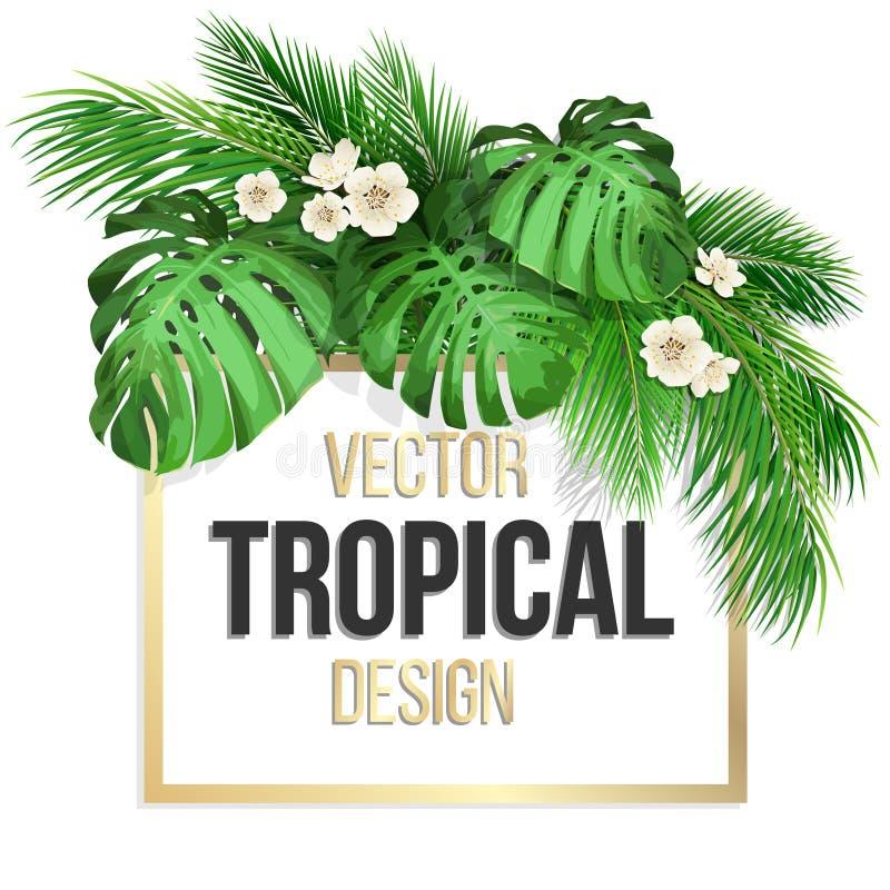 Cadre carré avec les feuilles tropicales illustration stock