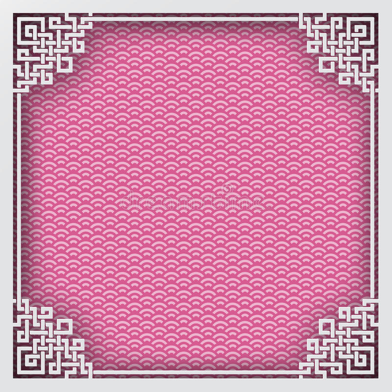 Cadre carré chinois sur le fond oriental de modèle rose pour le gre illustration de vecteur