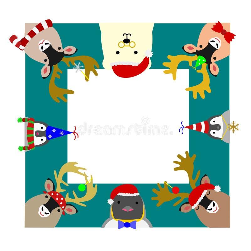 Cadre carré d'animaux arctiques mignons illustration libre de droits